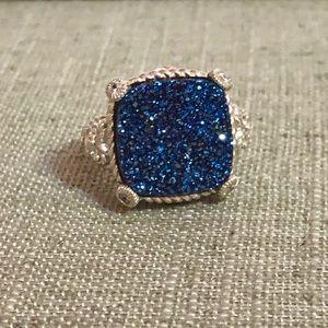 Judith Ripka druzy quartz dark blue cocktail ring
